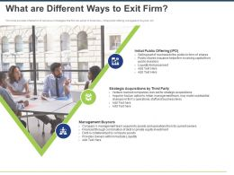What Are Different Ways To Exit Firm Ppt Powerpoint Presentation Portfolio Background Image