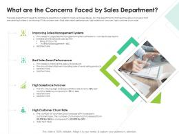 What Are The Concerns Faced By Sales Department Sales Enablement Enhance Overall Productivity Ppt Tips