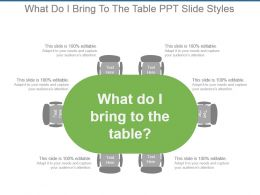 What Do I Bring To The Table Ppt Slide Styles
