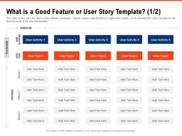 What Is A Good Feature Or User Story Template Functionality Requirement Gathering Methods Ppt Backgrounds