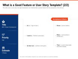 What Is A Good Feature Or User Story Template Priority Requirement Gathering Methods Ppt Ideas