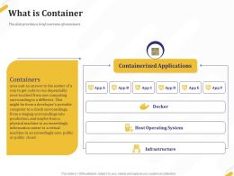 What Is Container Applications Ppt Powerpoint Presentation File Display