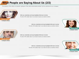 What People Are Saying About Us M1396 Ppt Powerpoint Presentation Model Example File