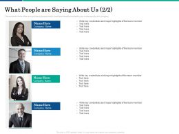 What People Are Saying About Us Team Ppt Powerpoint Presentation Model Portfolio
