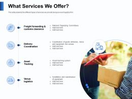 What Services We Offer Goods Deliveries Powerpoint Presentation Elements