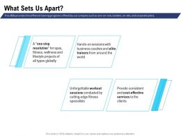 What Sets Us Apart Unforgettable Workout Ppt Powerpoint Presentation Inspiration