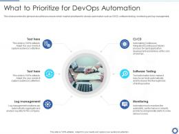 What To PriorITize For Devops Automation Devops Automation IT Ppt Introduction
