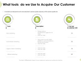 What Tools Do We Use To Acquire Our Customer Paying Various Ppt Outline