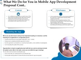 What We Do For You In Mobile App Development Proposal Cont Ppt Powerpoint Layouts