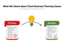 What We Heard About Client Business Planning Issues