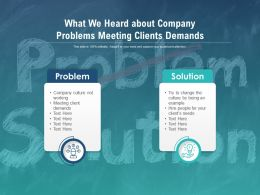 What We Heard About Company Problems Meeting Clients Demands
