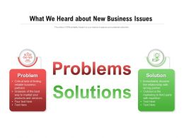 What We Heard About New Business Issues