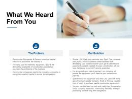 What We Heard From You Gears Ppt Powerpoint Presentation Layouts Elements