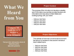 What We Heard From You Powerpoint Slide Show