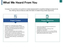 What We Heard From You Ppt Summary Show