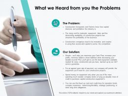 What We Heard From You The Problems Ppt Powerpoint Presentation Styles Graphic Tips