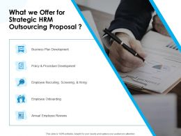 What We Offer For Strategic HRM Outsourcing Proposal Ppt Icon Background