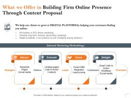 What We Offer In Building Firm Online Presence Through Content Proposal Ppt Icon