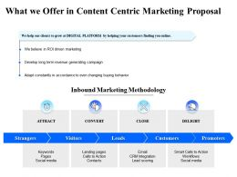 What We Offer In Content Centric Marketing Proposal Ppt Powerpoint Presentation Infographics