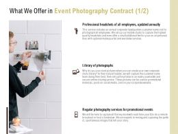 What We Offer In Event Photography Contract Services Ppt Powerpoint Presentation