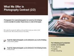 What We Offer In Photography Contract Method Ppt Powerpoint Presentation