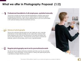 What We Offer In Photography Proposal Marketing Ppt Powerpoint Infographics