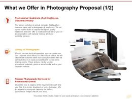 What We Offer In Photography Proposal Photographs Ppt Powerpoint Presentation Microsoft