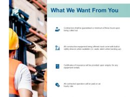 What We Want From You Insurance Ppt Powerpoint Presentation Layouts Format