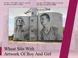 Wheat Silo With Artwork Of Boy And Girl