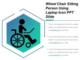 Wheel Chair Sitting Person Using Laptop Icon Ppt Slide