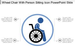 Wheel Chair With Person Sitting Icon Powerpoint Slide