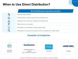 When To Use Direct Distribution Ppt Powerpoint Presentation Ideas Smartart