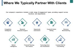 Where We Typically Partner With Clients Ppt Summary Shapes