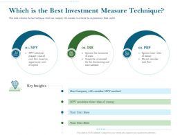 Which Is The Best Investment Measure Technique Ppt Slides Deck