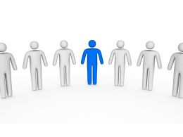 White 3D Men Icons With Blue Man As A Leader Stock Photo