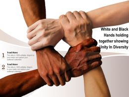 White And Black Hands Holding Together Showing Unity In Diversity
