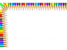 White Background Made Of Colorful Pencils Border Stock Photo