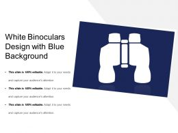 White Binoculars Design With Blue Background