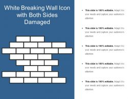 White Breaking Wall Icon With Both Sides Damaged