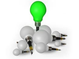 White Bulbs With One Green Bulb As Leader Stock Photo