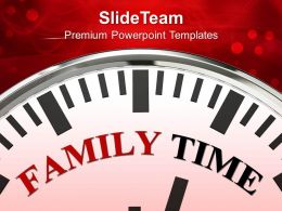 White Clock With Word Family Time Celebration Powerpoint Templates Ppt Themes And Graphics 0113