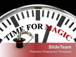 White Clock With Word Time For Magic PowerPoint Templates PPT Themes And Graphics 0213