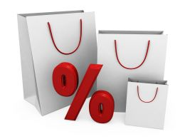 White Color Shopping Bags With Percent Stock Photo
