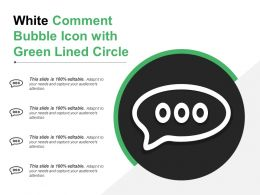 White Comment Bubble Icon With Green Lined Circle