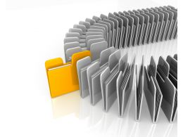 White Computer Folders With One Yellow Folder Standing Out Stock Photo