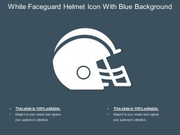 White Faceguard Helmet Icon With Blue Background