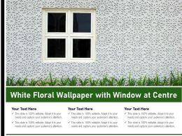 White Floral Wallpaper With Window At Centre