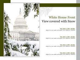 White House Front View Covered With Snow