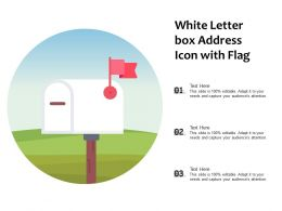 White Letter Box Address Icon With Flag