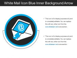 White Mail Icon Blue Inner Background Arrow